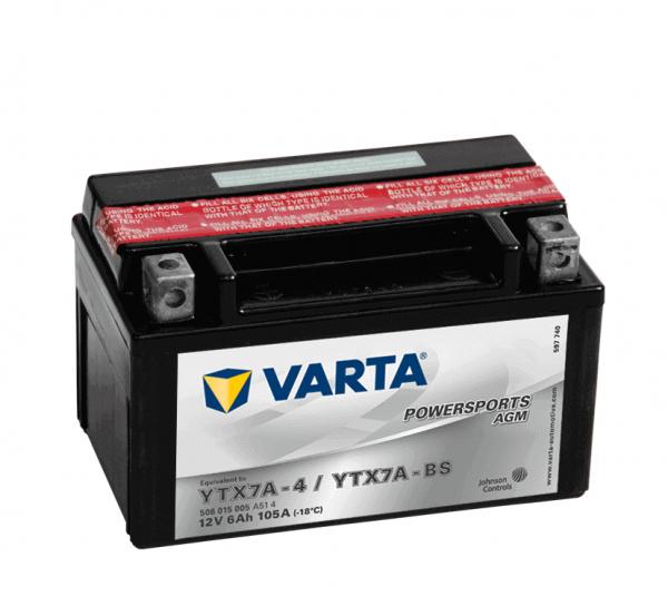 Varta POWERSPORTS AGM 12V 6Ah 50A YTX7A-4 / YTX7A-BS ETN 506015005