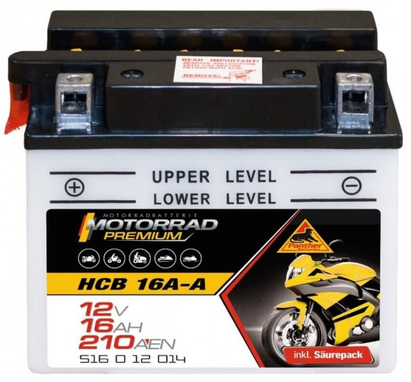 Panther Premium 12V 16Ah 210A DIN 51612 / HCB 16 A-A