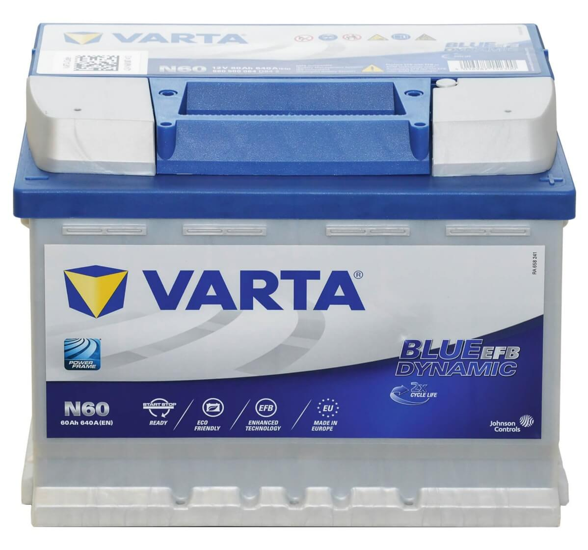 varta n60 start stop efb 60ah 12v batterie. Black Bedroom Furniture Sets. Home Design Ideas