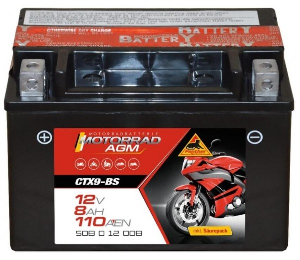 Panther AGM 12V 8Ah 80A DIN 50812 / CTX9-BS