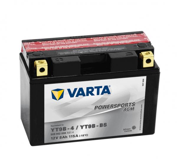 Varta POWERSPORTS AGM 12V 9Ah 80A YT9B-4 / YT9B-BS ETN 509902008