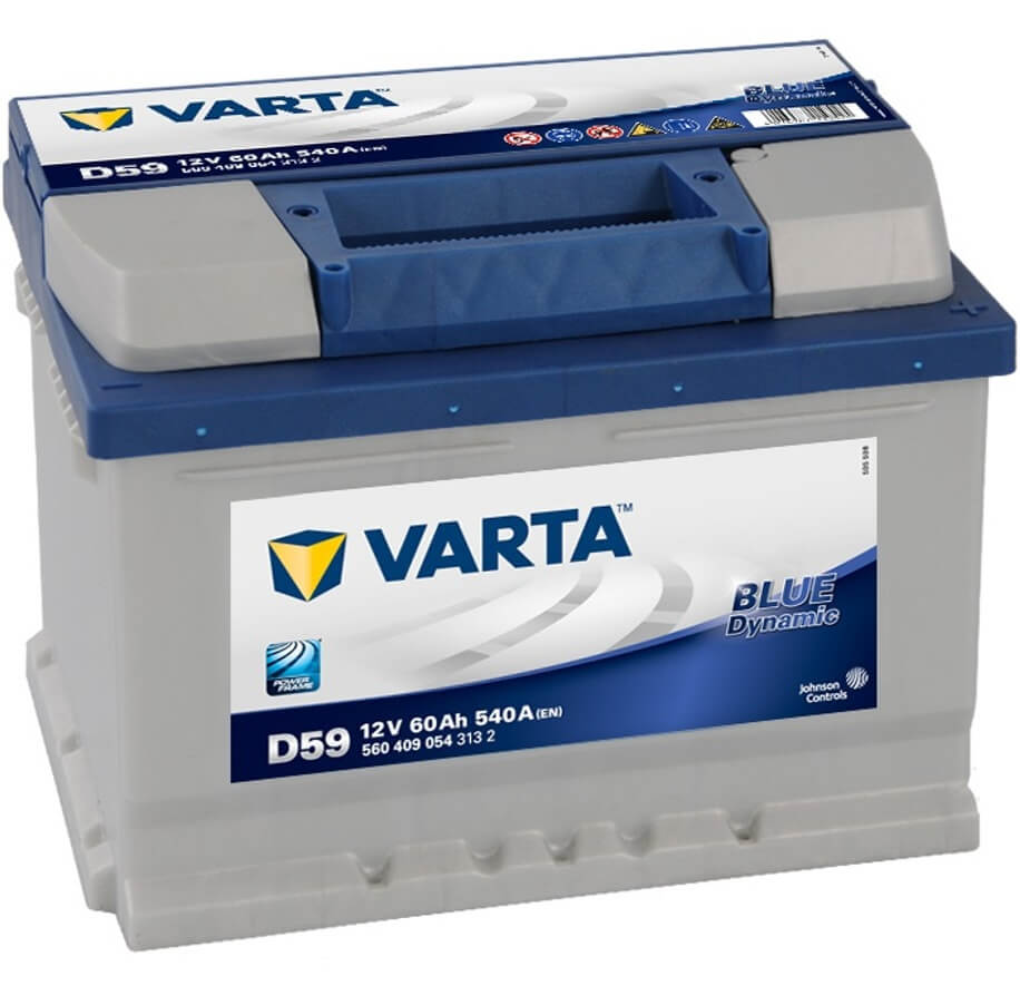 varta blue dynamic d59 autobatterie 60ah 12v f r kfz. Black Bedroom Furniture Sets. Home Design Ideas